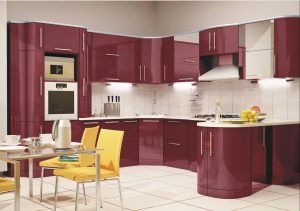 бордовая угловая кухня