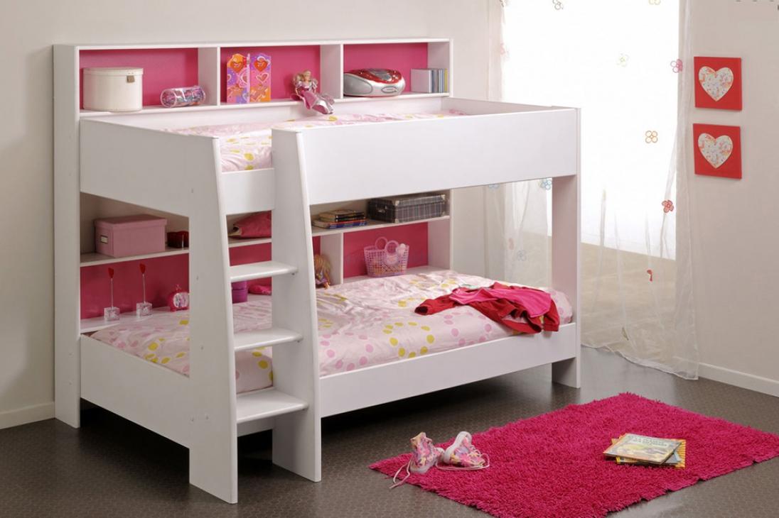 белая детская двухъярусная кровать