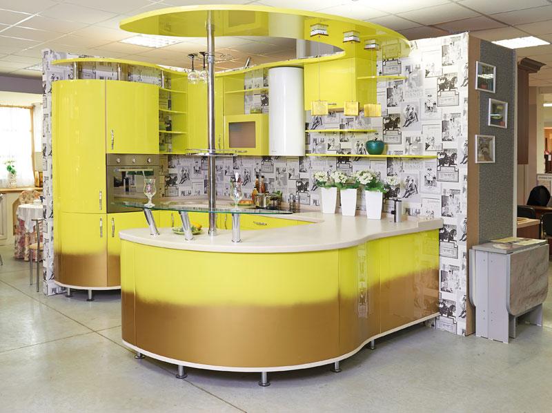 желтая кухня эмаль радиусные фасады