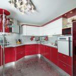 кухня угловая красная пластик